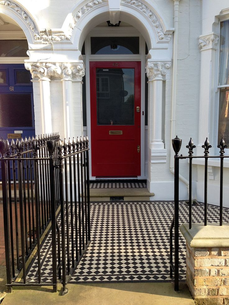front garden victorian mosaic tile path with yorkstone step yellow brick wall and metal rails and stone effect wall caps putney london