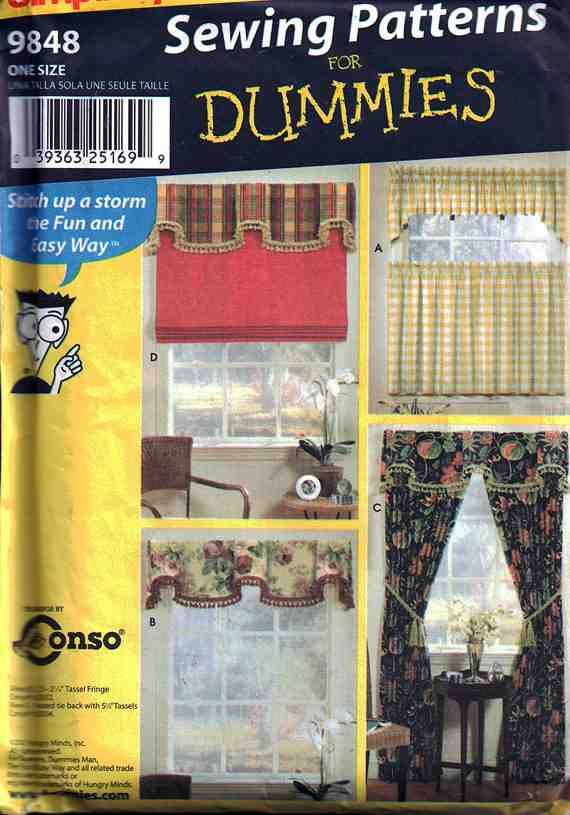 Simplicity Sewing Pattern 9848 Sewing for Dummies - Window Treatments Uncut