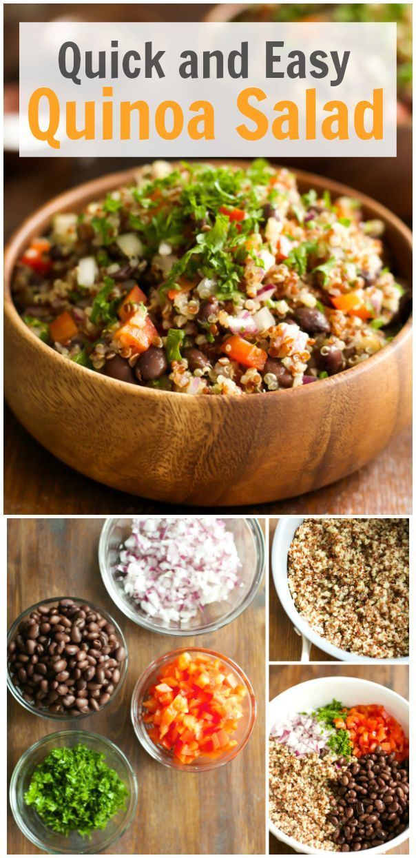 This Easy and Quick Quinoa Salad is vegan and gluten free. It is also tossed in a homemade vinaigrette dressing, loaded with beans, red onions, pepper and parsley! This salad will leave you feeling great and satisfied. primaverakitchen.com