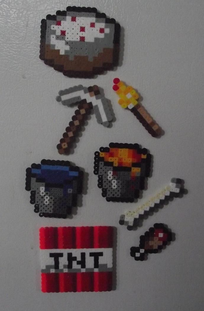 Minecraft Essentials, Perler Bead Manget Set by TheMeltedGeek, $7.00 USD