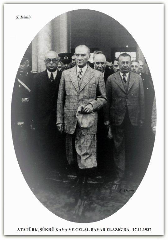 Atatürk, Celal Bayar ve Şükrü Kaya Elazığ'da. 17.11.1937