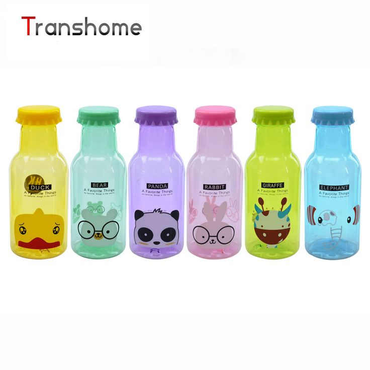 TRANSHOME My Fashion Lovely Cartoon Protable Water Bottle  350ML Transparent Cute Plastic Water Bottle Bike Sports Unbreakable