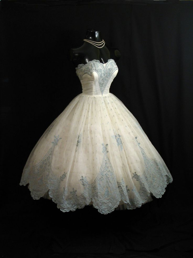 Something Blue 50s Vintage Gown    Vintage 1950's 50s Bombshell STRAPLESS Ivory Blue Flocked Floral Chiffon Organza Party Prom Wedding DRESS. $449.99, via Etsy.