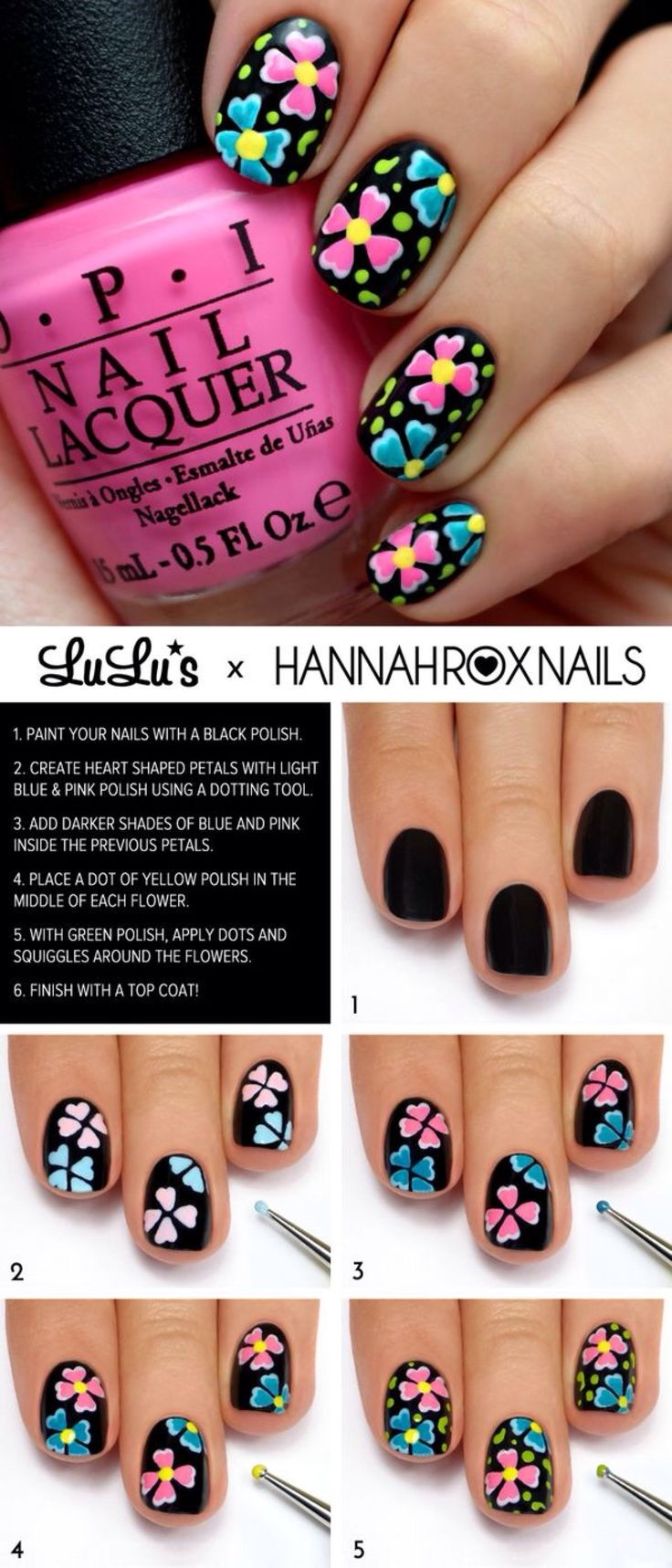 Bright Neon Flowers on Black #nailart