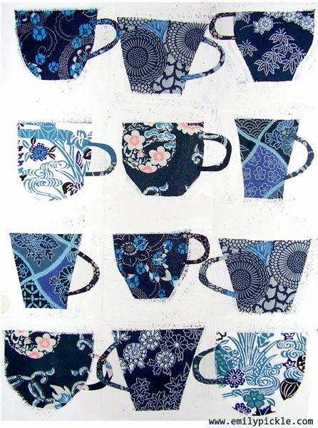 mixed media - origami paper & emulsion paint... I love tea cups...