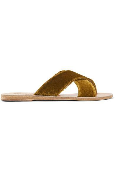 Ancient Greek Sandals - Thais Velvet And Leather Slides - Mustard - IT38