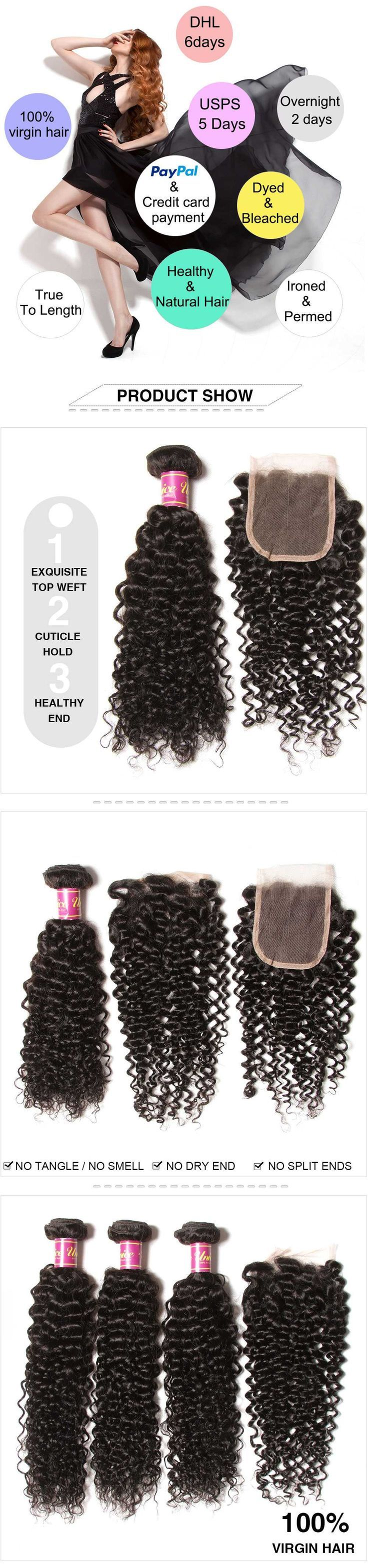 UNice 4Pcs Malaysian Jerry Curly Hair Weft With Cl…