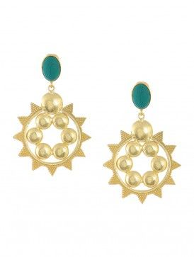 Turquoise Gold-plated Brass Earrings