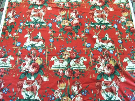 5 Yards English Red Chintz Fabric Les Animaux by TextilesandThings, $100.00
