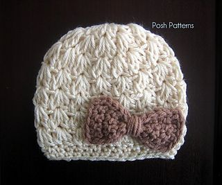 Cluster V-Stitch Crochet Hat Pattern by Posh Patterns