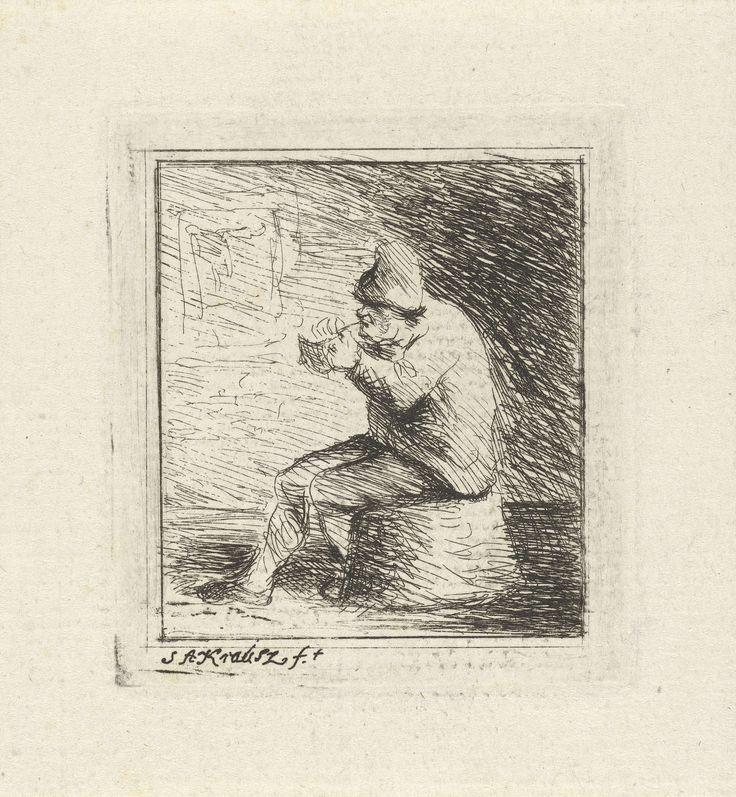 Simon Andreas Krausz   Rokende boer, Simon Andreas Krausz, 1770 - 1825   In een vertrek steekt een boer, zittend op een omgekeerde mand, zijn pijp aan. Aan de muur van het vertrek hangt een prent of schilderij.