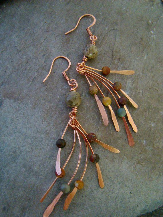 Artisan Copper Metalwork Jasper Bead Earrings by Sewartzee on Etsy
