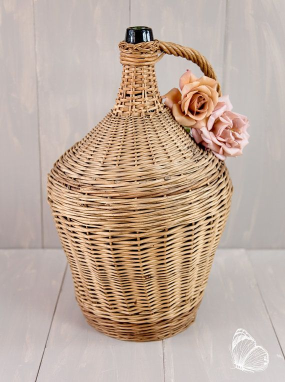 French Vintage French Large Glass Demjiohn Wrapped in a Handmade Wicker Basket  - Dame Jeanne - Free Shipping Within the USA