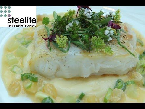 Michelin star chef Simon Hulstone creates a cod with pollen and verjus r...