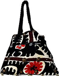 Black and Red Applique Shopper Bag from Kutch