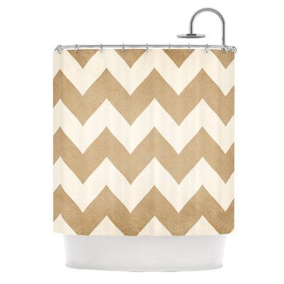 East Urban Home Catherine McDonald Biscotti and Cream Chevron Shower Curtain