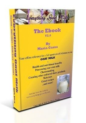 The Everything Goat Milk Ebook    Newly formatted, and with live links to web pages, the illustrated Ebook contains 214 pages of information on nutritional and health aspects of goat milk, cheesemaking, milk processing, skin care information, recipes and more!