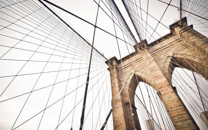 Indir duvar kağıdı Brooklyn Köprüsü, New York, ABD, metropolis