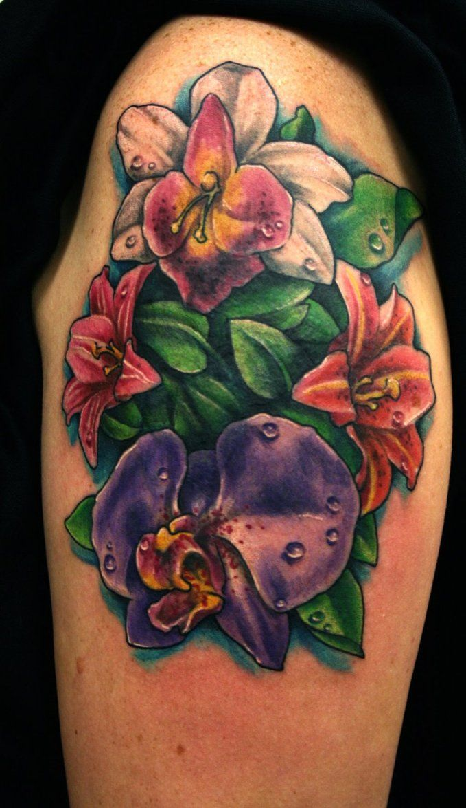 Peacock flower tattoo designs - Orchid Flower Is The Symbol Of Refinement Charm Beauty And Love The Orchid Flower Tattoos Are For Those Types Of Personalities Who Believe In Love And