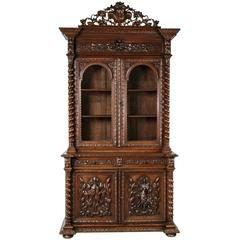 19-го века французский ручной резная дубовая Louis XIII стол Deux корпус с Hunt…