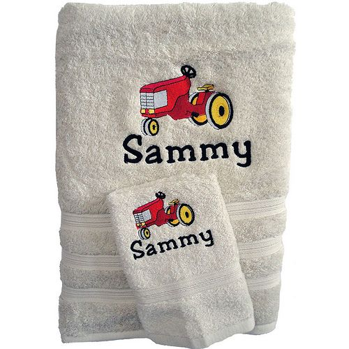 Towel set embroidered with a farm tractor