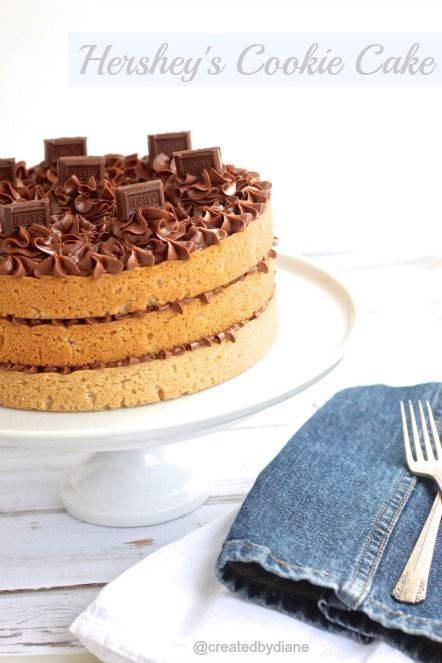 "Hershey's Cookie Cake -- this is amazingly delicious looking! Just use your favorite sugar cookie mix, layer with your favorite chocolate frosting, and top with some peanut butter candies. Could change it up with using a chocolate chip cookie, or a peanut butter cookie for the ""cake"" part too. {this is going into cake, but it's really a cookie}"