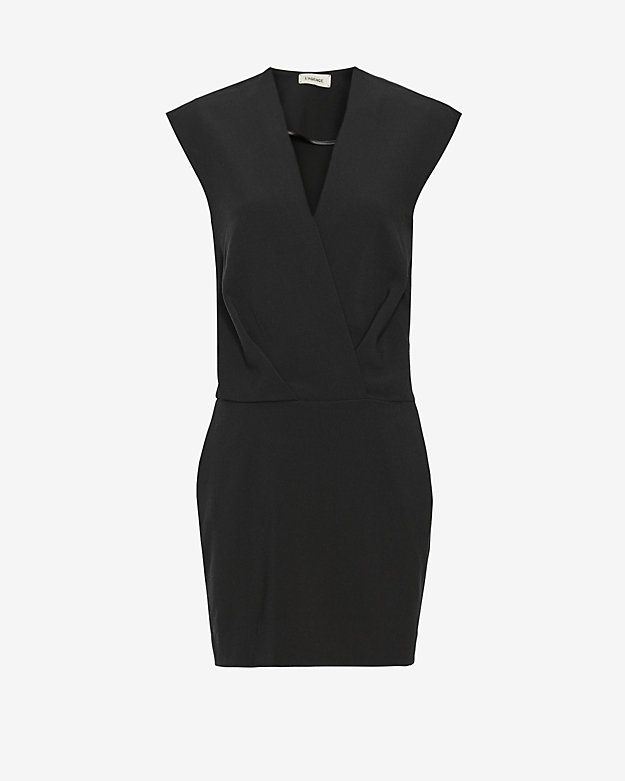 L'Agence Cara Sleeveless Cross Front Dress: A boxy upper bodice with a cross V front tapers to a fitted skirt at bottom. Sleeveless. Side zip closure. Two side pockets. Lined. In black. Fabric: 62% polyester/32% viscose/6% elastane Lining: 97% polyester/3% spandex Model Measurements: Height 5'10; ...