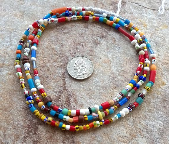 42 Inch Tie-On Multi-Color African Waist Bead Strand Blue and Red Gold