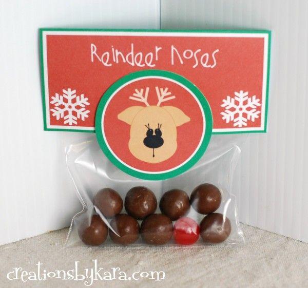 Christmas Gift Idea-- Reindeer Noses  #free-printable