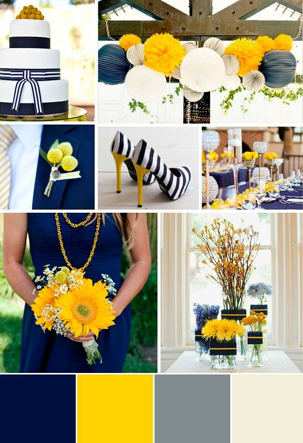 So, so pretty! Maybe a slightly brighter shade of yellow?   wedding palette navyblue yellow