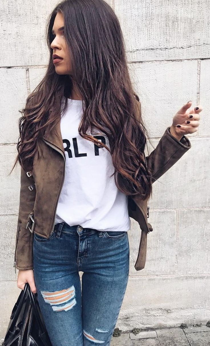 #fall #outfits ·  Velvet Jacket + White T-shirt + Ripped Jeans