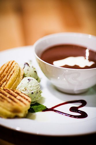 Chocolate Soup with Saint Andre Brioche and Basil Mint Chocolate Ice Cream