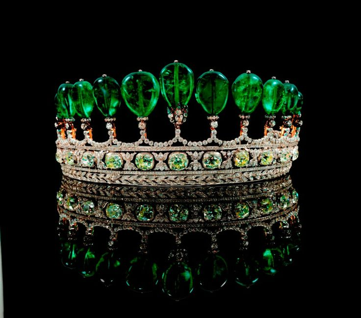 This royal emerald and diamond tiara formerly in the collection of the Swedish Princess Katharina Henckel Von Donnersmarck, was possibly made by Chaumet.