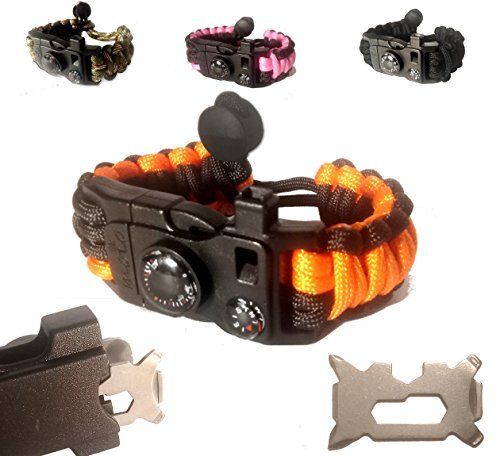 Paracord Bracelet - Survival Bracelet - Emergency Gear Men Women Kid Girl - MINI MULTI TOOL CARD - Scrapper - Whistle - Compass - Flint Fire Starter - Fahrenheit Thermometer - Hiking Camping. For product & price info go to:  https://all4hiking.com/products/paracord-bracelet-survival-bracelet-emergency-gear-men-women-kid-girl-mini-multi-tool-card-scrapper-whistle-compass-flint-fire-starter-fahrenheit-thermometer-hiking-camping-2/
