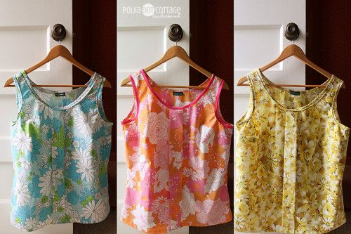Tops made from vintage sheets with Colette's free Sorbetto tank pattern.