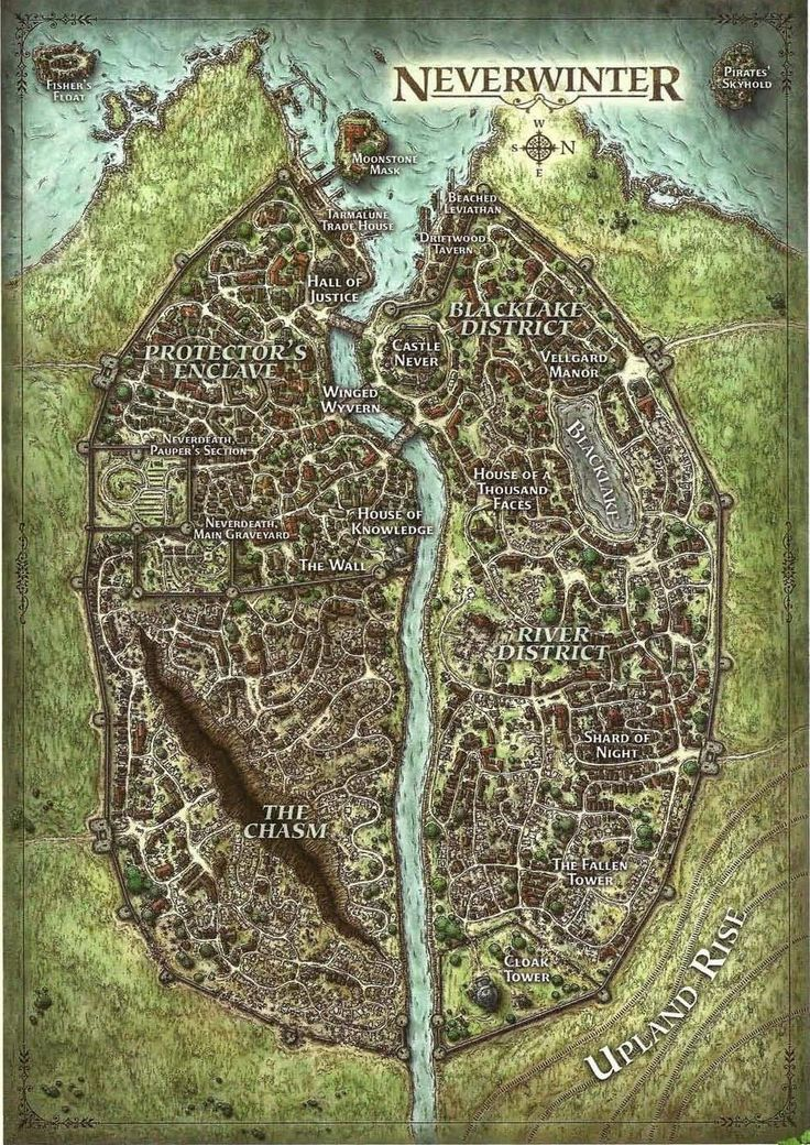 Map of the city of Neverwinter in Toril, released by Wizards of the Coast
