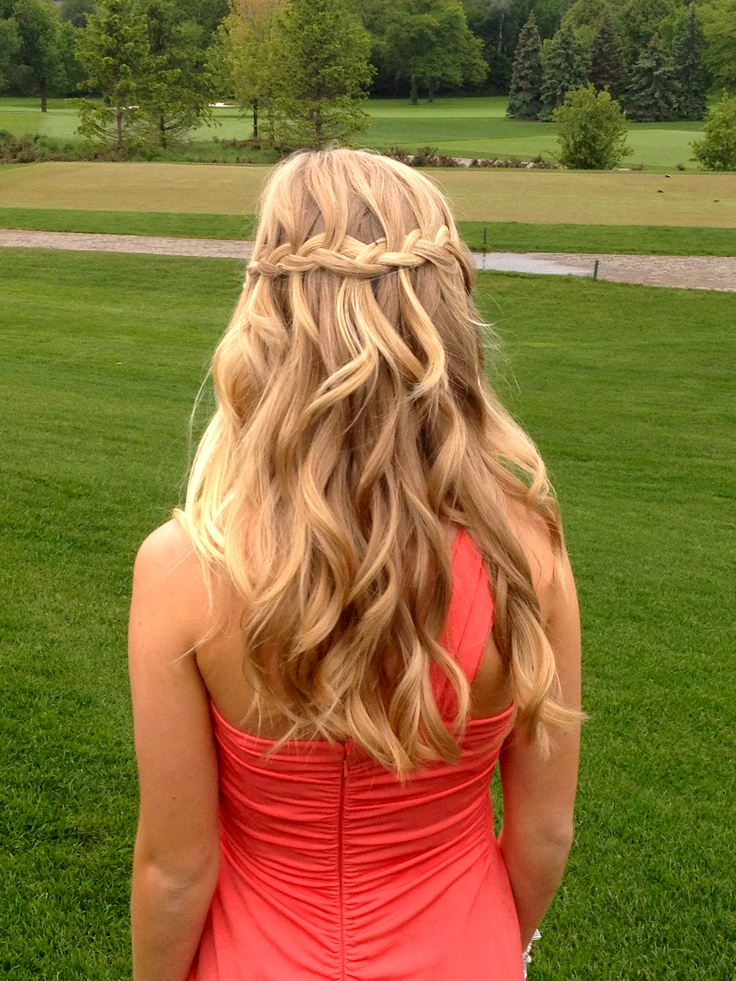 prom hair? #waterfall #braid #hair #curl   Prom ...