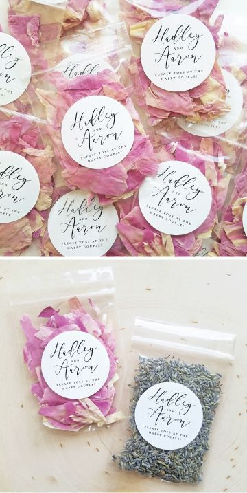 Wedding Flower Confetti Packets - Personalized Eco-Friendly Wedding Confetti - Dried Pink Rose Petals or Dried Lavender Buds