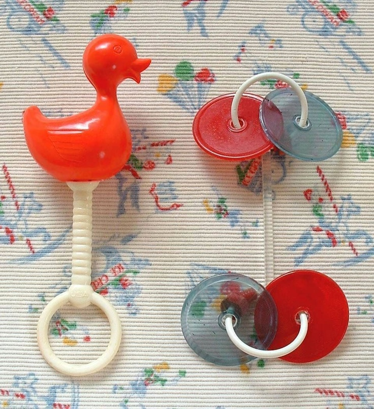 Vintage Plastic CRIB Toys Rattles Teething Ring Lucite Toy For BABY Nursery Signed c.1940's!