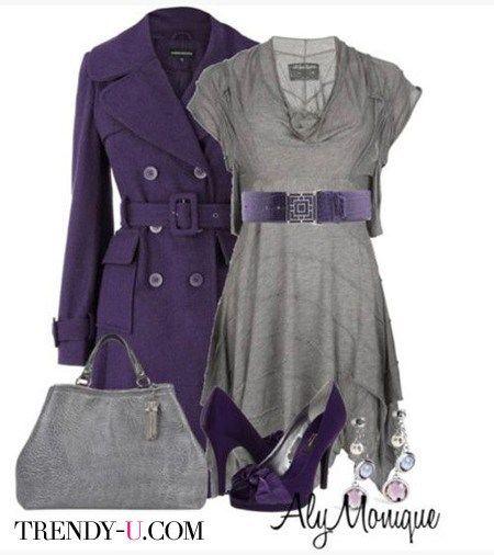 Серое стильное платье