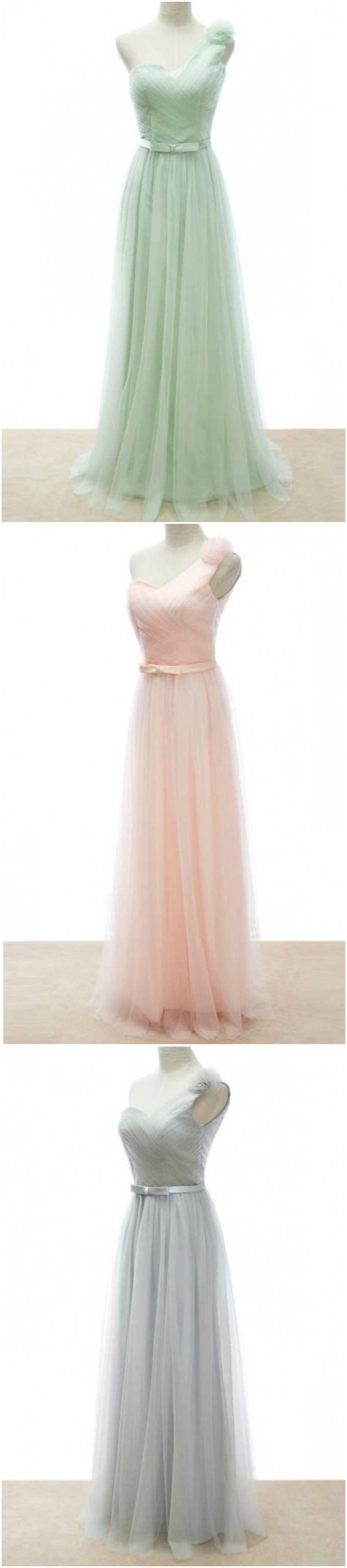Making It Easy to Create a Beautiful Wedding Color Palette. One Shoulder Chiffon Bridesmaid Dress in Three colors Styles: Mint Green, Blush Pink, Ligh...