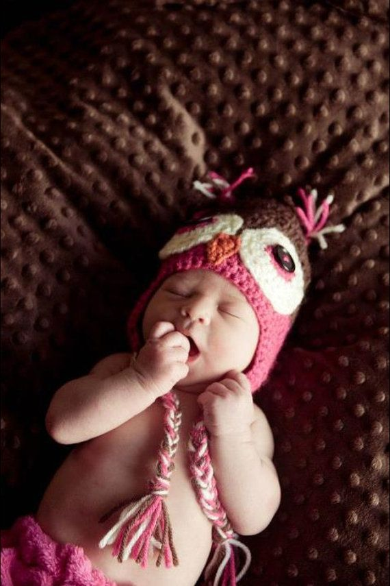 Crochet Owl Hat Infant 03 months by ChippersCreations on Etsy, $15.00