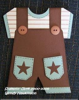 """Baby Boy Overalls card. Template is also pinned. Punches used are 1 1/4"""" Circle for the round neckline, 1 1/4"""" square cut out of neckline of overalls and Small Ticket, and Small Star for pockets."""