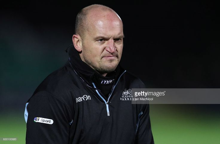 Gregor Townsend is seen during the warm prior to the European Rugby Champions Cup match between Glasgow Warriors and Racing 92 at Scotstoun stadium on December 16, 2016 in Glasgow, United Kingdom.