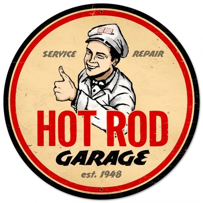 Vintage and Retro Wall Decor - JackandFriends.com - Retro Hot Rod Magazine Garage Tin Sign, $99.97 (http://www.jackandfriends.com/vintage-retro-hot-rod-magazine-garage-metal-tin-sign/)