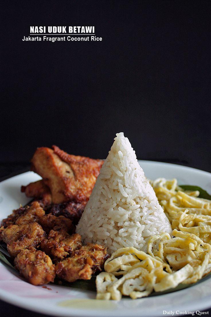 Nasi Uduk Betawi - Jakarta Fragrant Coconut Rice - Ingredients: rice, coconut milk, lemongrass, pandan, ginger, galangal, bay leaves, and coriander powder