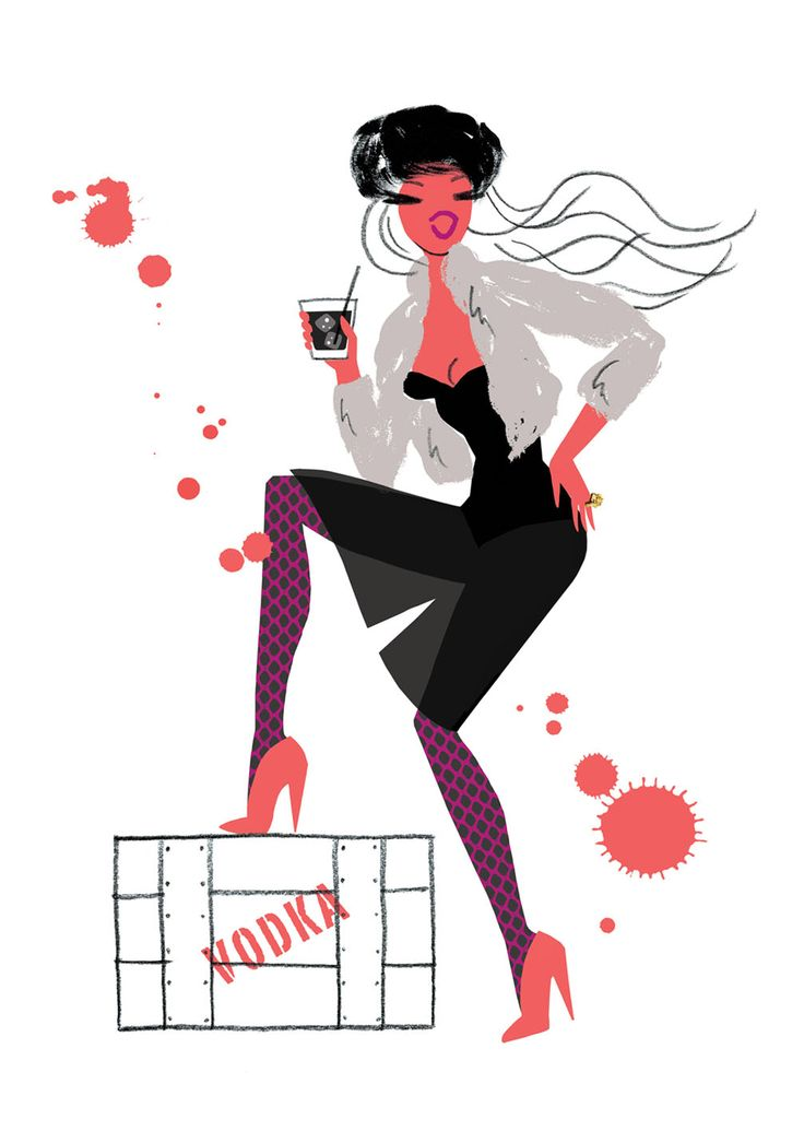 Black Russian by Neryl Walker. Illustration from The Fashionable Cocktail book