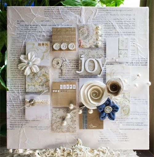 Want to make a variation of this altered canvas. Gorgeous!