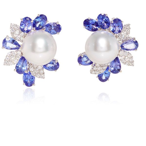 Yoko London 18K White Gold Cultured Pearl Diamond Earrings ($22,500) ❤ liked on Polyvore featuring jewelry, earrings, 18k white gold earrings, 18k earrings, diamond jewelry, sparkle jewelry and sparkly earrings
