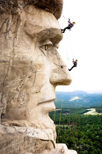 Search and rescue training on Mt. Rushmore, Black Hills, South Dakota by Kevin Steele